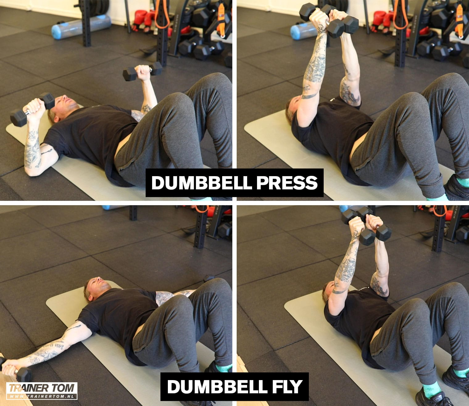Superset voor thuis - Dumbbell Press en Dumbbell Fly