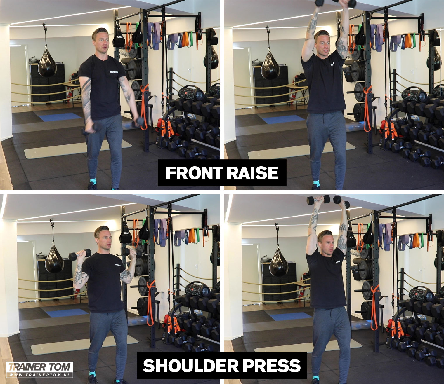 Superset voor thuis - Side/Front Raise en Shoulder Press